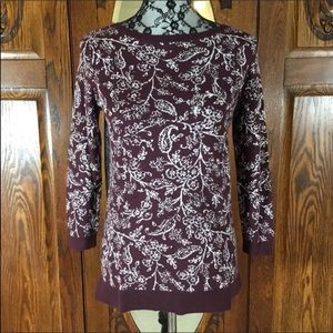 Loft Outlet NWT Burgundy & White Floral Sweater